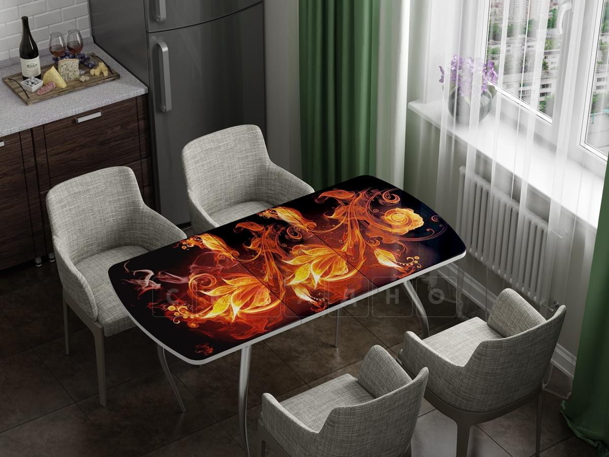 Стол раздвижной стеклянный с фотопечатью Огненный цветок фото 1 | интернет-магазин Складно