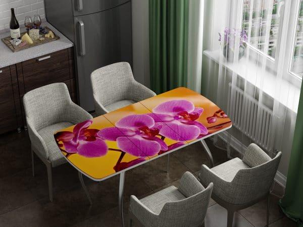 Стол раздвижной стеклянный с фотопечатью Орхидея фото | интернет-магазин Складно