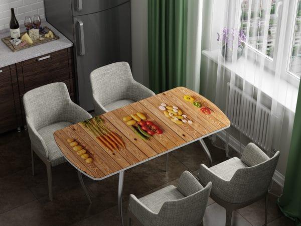 Стол раздвижной стеклянный с фотопечатью Овощи фото | интернет-магазин Складно