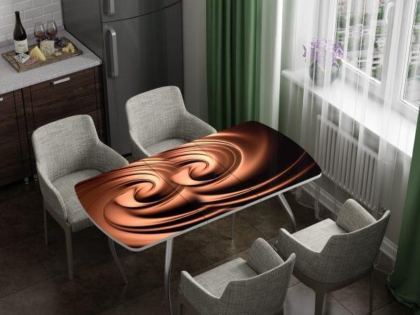 Стол раздвижной стеклянный с фотопечатью Шоколад фото | интернет-магазин Складно