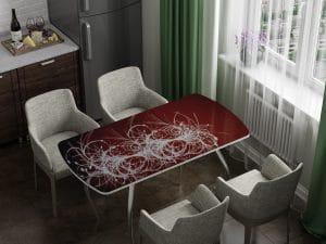 Стол раздвижной стеклянный с фотопечатью Светящиеся нити-10981 фото | интернет-магазин Складно