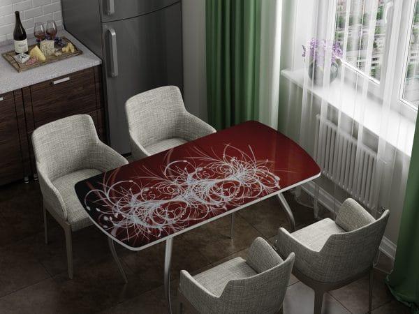 Стол раздвижной стеклянный с фотопечатью Светящиеся нити фото | интернет-магазин Складно