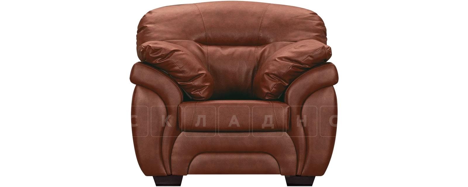 Кресло Бристоль кожаное коричневого цвета фото 2 | интернет-магазин Складно