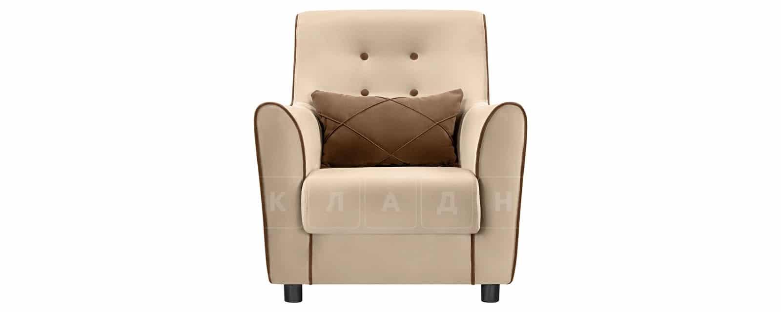 Кресло Флэтфорд велюр бежевый с коричневым кантом фото 2 | интернет-магазин Складно
