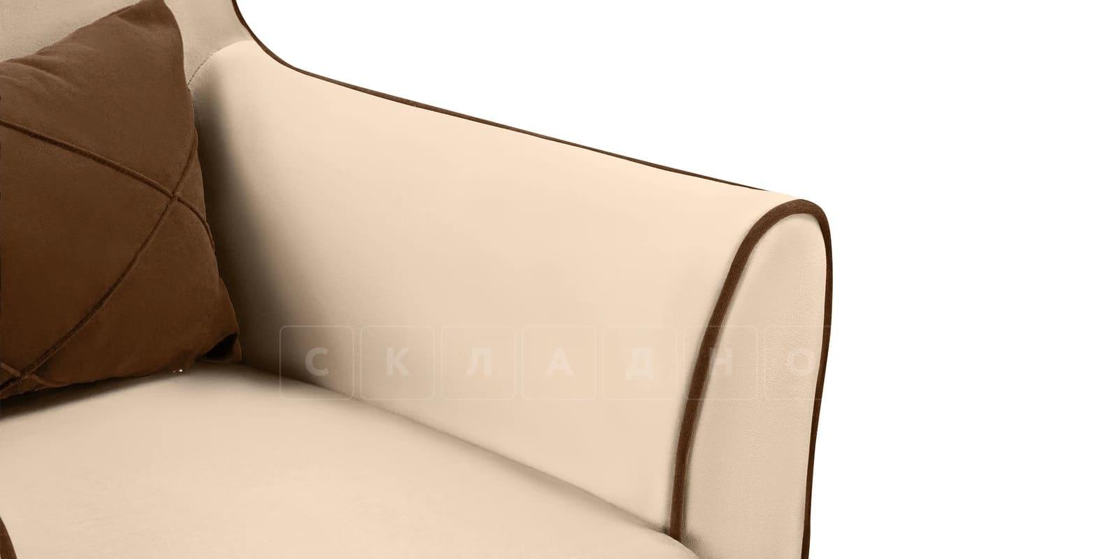 Кресло Флэтфорд велюр бежевый с коричневым кантом фото 6 | интернет-магазин Складно