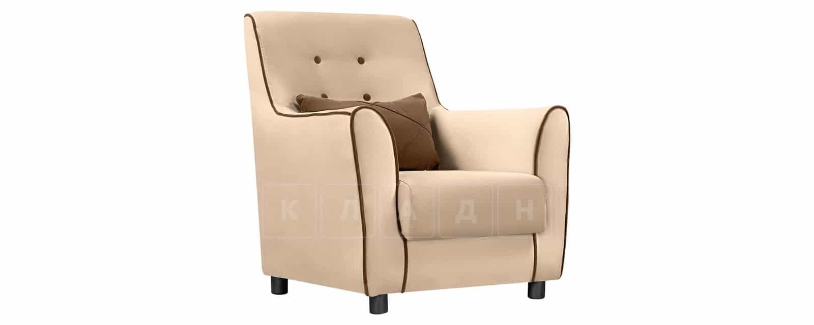 Кресло Флэтфорд велюр бежевый с коричневым кантом фото 1 | интернет-магазин Складно