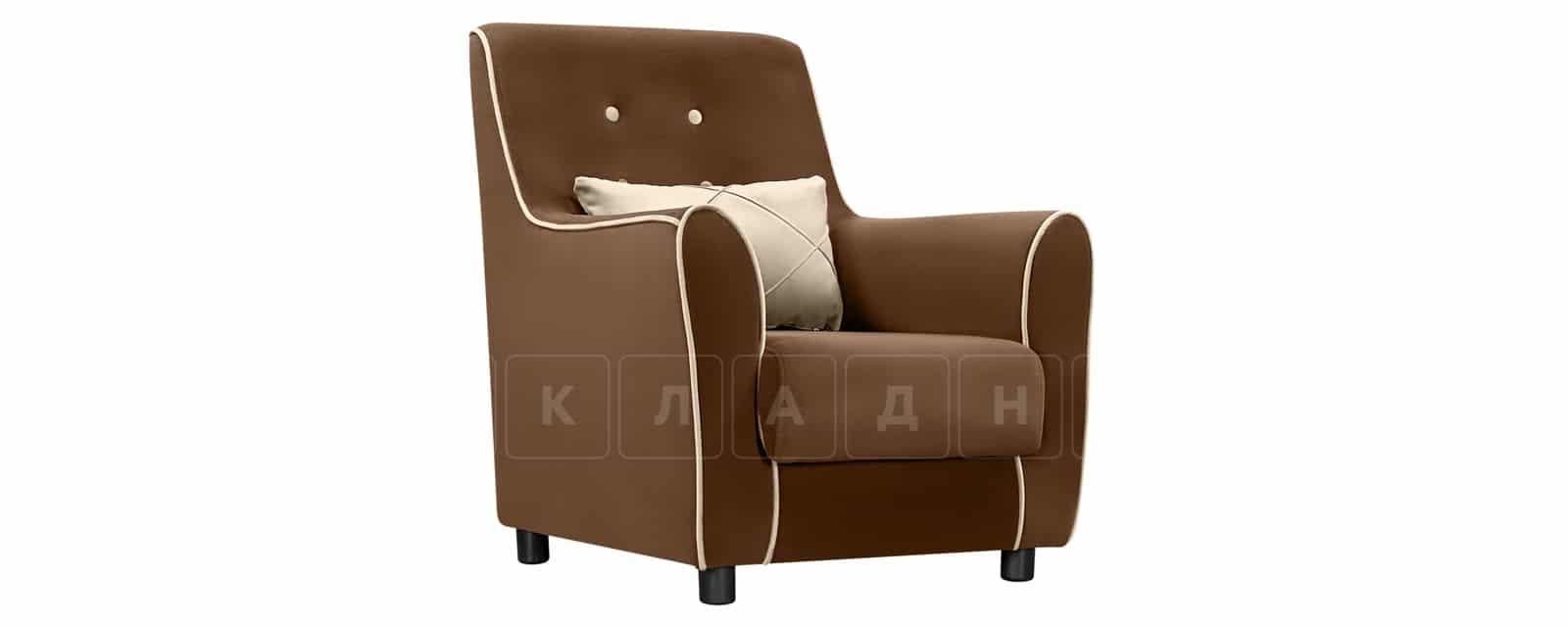 Кресло Флэтфорд велюр коричневый с бежевым кантом фото 1 | интернет-магазин Складно