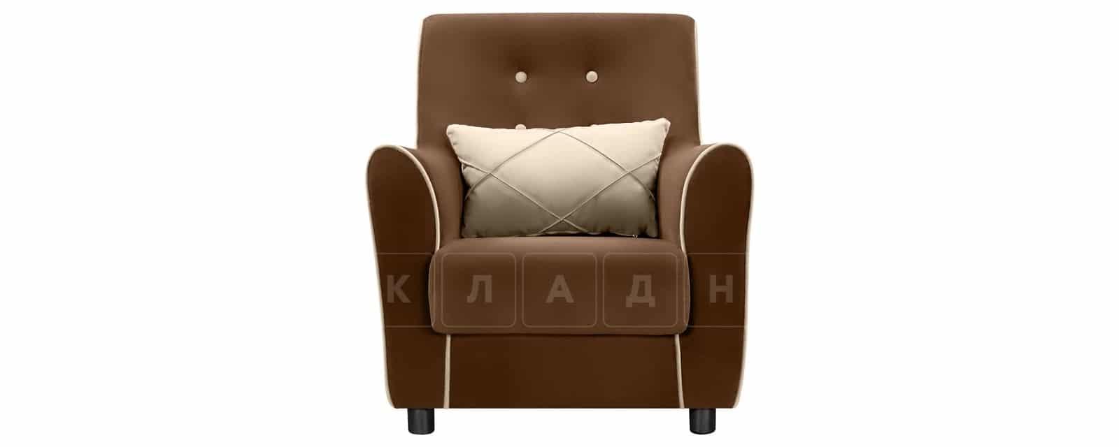Кресло Флэтфорд велюр коричневый с бежевым кантом фото 2 | интернет-магазин Складно