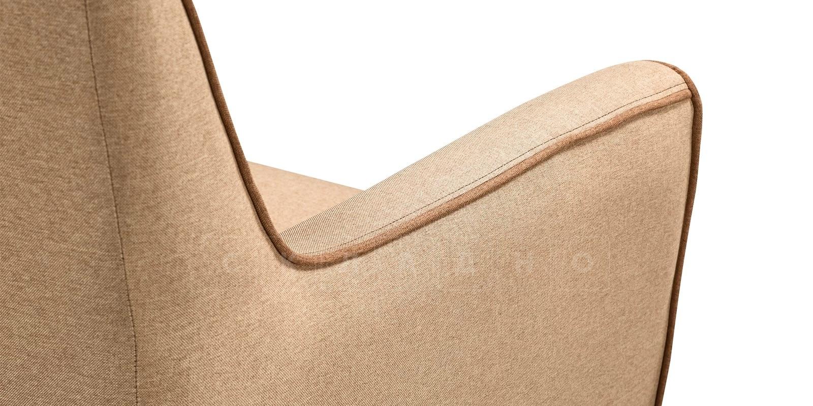Кресло Флэтфорд рогожка бежевая с коричневым кантом фото 4 | интернет-магазин Складно