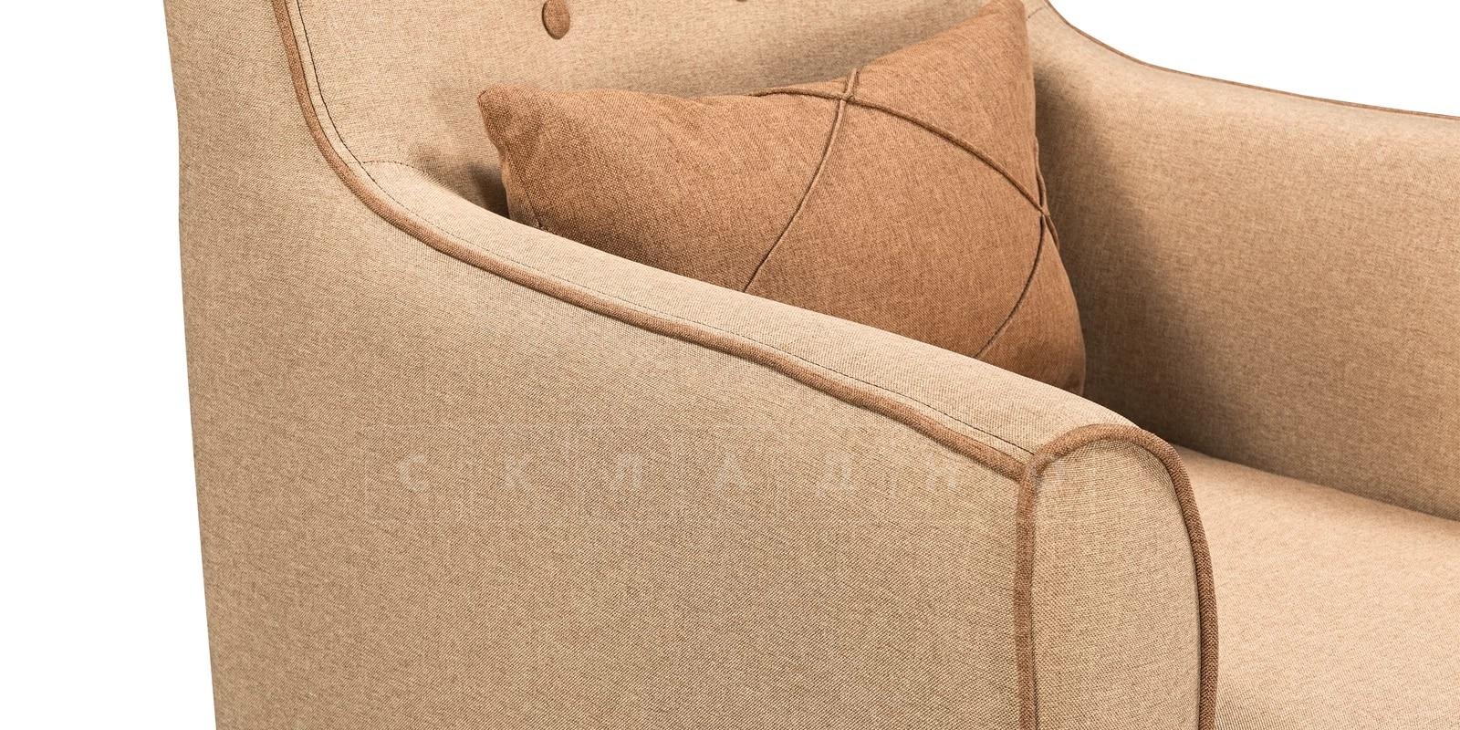 Кресло Флэтфорд рогожка бежевая с коричневым кантом фото 5 | интернет-магазин Складно