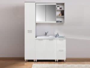 Мебель для ванной комнаты Олива 1300 белый глянец фото | интернет-магазин Складно