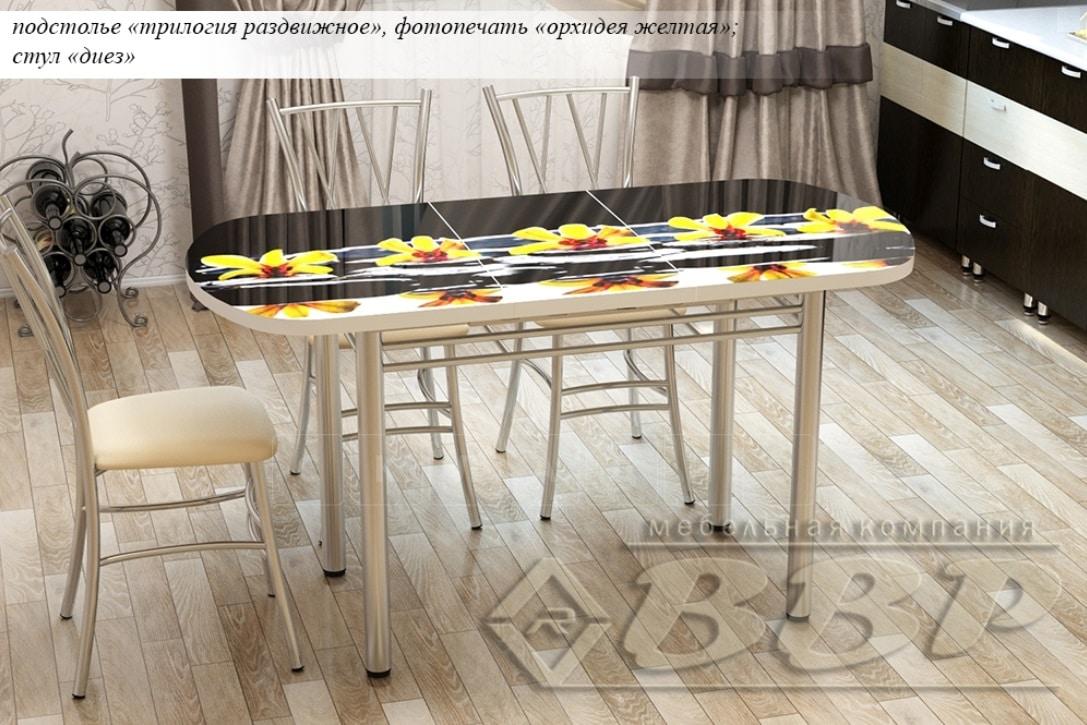 Стол раздвижной стеклянный с фотопечатью Орхидея желтая 150х70 см фото 2 | интернет-магазин Складно