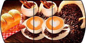 Стол раздвижной стеклянный с фотопечатью Кофе-3 150х70 см фото превью | интернет-магазин Складно