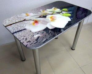 Стол нераздвижной стеклянный с фотопечатью Орхидея белая серия 1 5790 рублей, фото 3 | интернет-магазин Складно