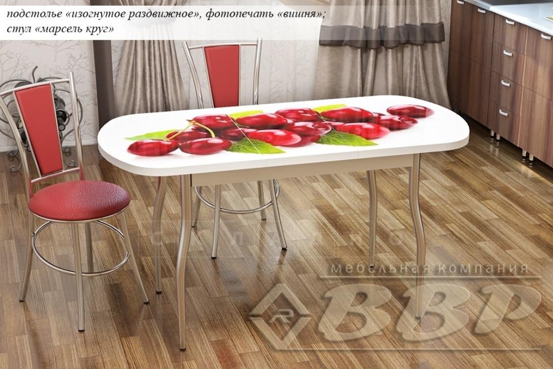 Стол раздвижной стеклянный с фотопечатью Вишня 150х70 см фото 2 | интернет-магазин Складно