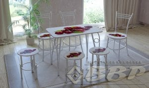 Стол нераздвижной стеклянный с фотопечатью Вишня серия 1 фото превью | интернет-магазин Складно