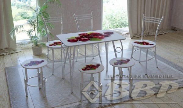 Стол нераздвижной стеклянный с фотопечатью Вишня серия 1 фото | интернет-магазин Складно