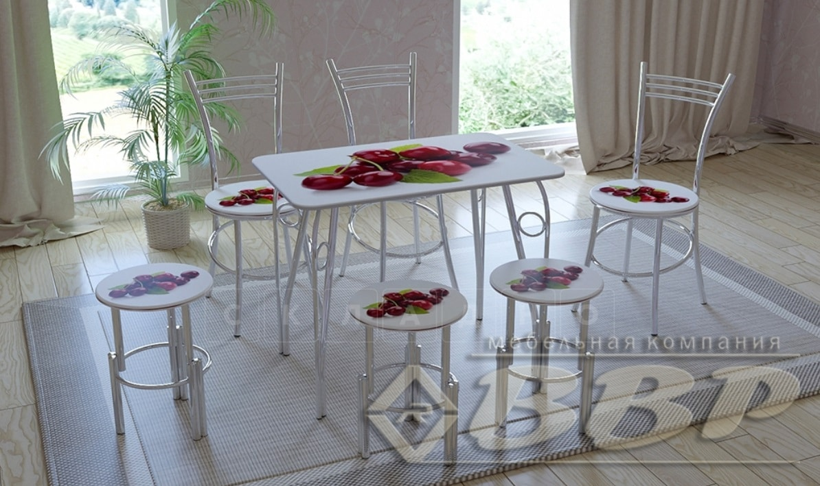 Стол нераздвижной стеклянный с фотопечатью Вишня серия 1 фото 1   интернет-магазин Складно