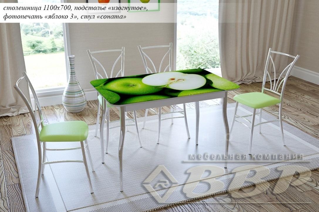 Стол нераздвижной стеклянный с фотопечатью Яблоко-3 серия 2 фото 1 | интернет-магазин Складно