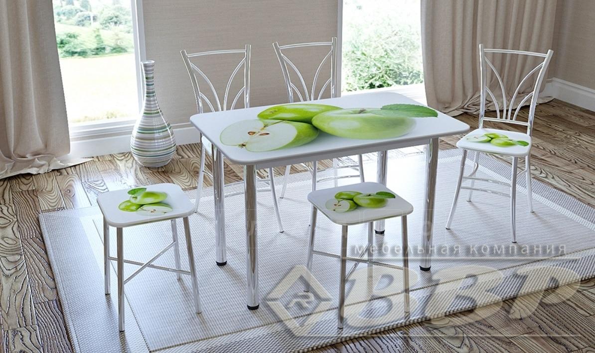 Стол нераздвижной стеклянный с фотопечатью Яблоко-4 серия 1 фото 2 | интернет-магазин Складно