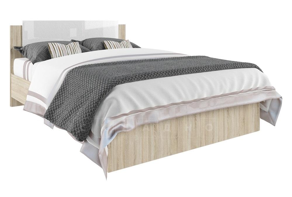 Кровать двуспальная София белый глянец 140 см фото 1 | интернет-магазин Складно