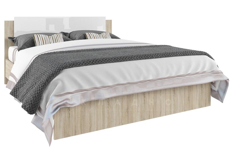 Кровать двуспальная София белый глянец 160 см фото 1 | интернет-магазин Складно