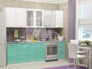 Кухонный гарнитур Шарлотта Асти бирюзовый с белым 2,0 м фото | интернет-магазин Складно