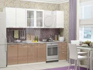 Кухонный гарнитур Шарлотта Асти капучино с белым 2,0 м фото | интернет-магазин Складно