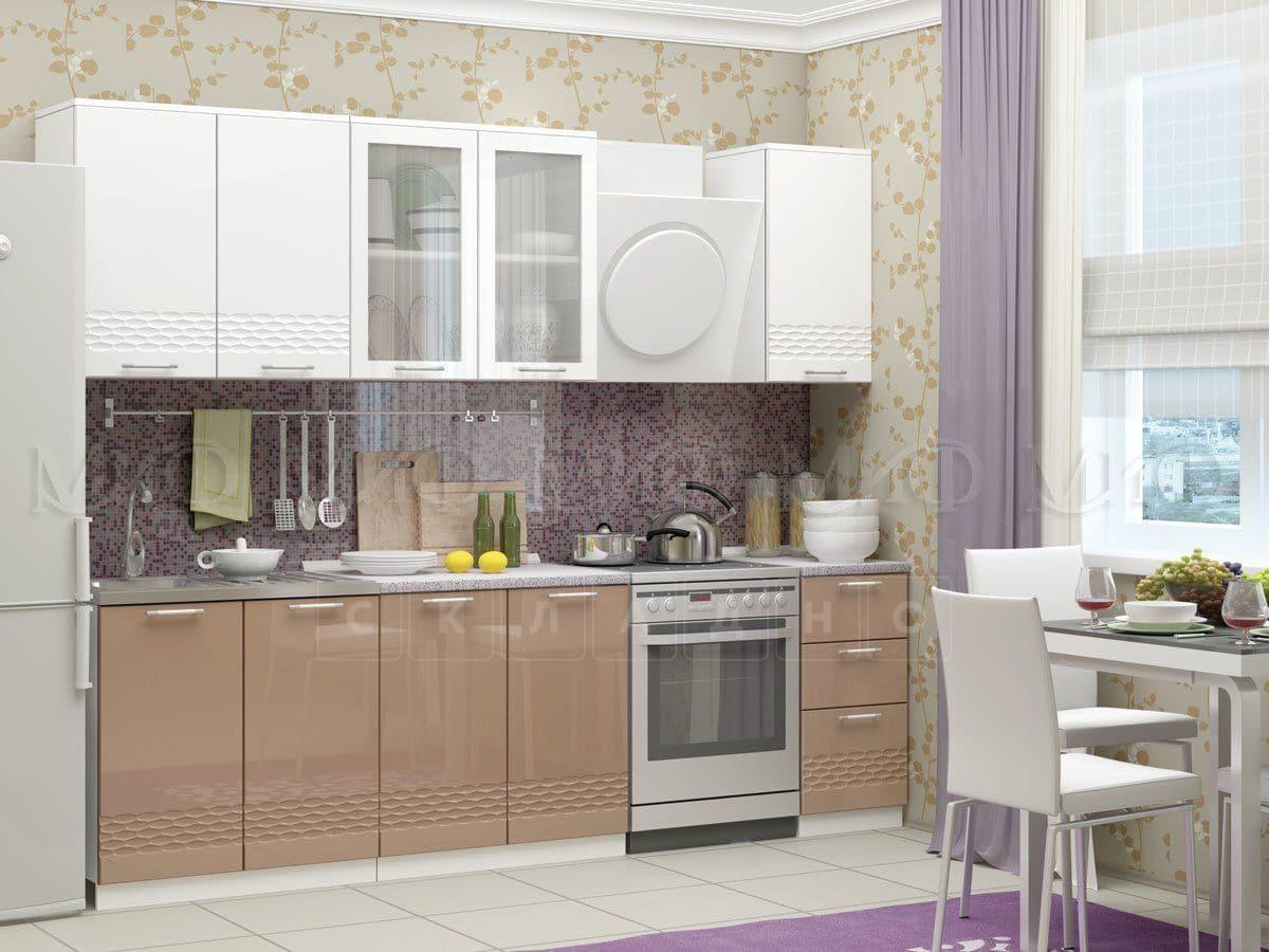 Кухонный гарнитур Шарлотта Асти капучино с белым 2,0 м фото 1 | интернет-магазин Складно