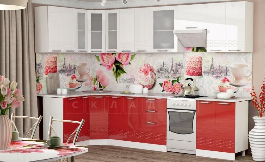 Кухня угловая Шарлотта Асти 1,4х3,0м красная с белым фото | интернет-магазин Складно