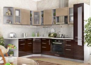 Кухня угловая Шарлотта Асти 1,7х2,7м шоколад с капучино фото | интернет-магазин Складно