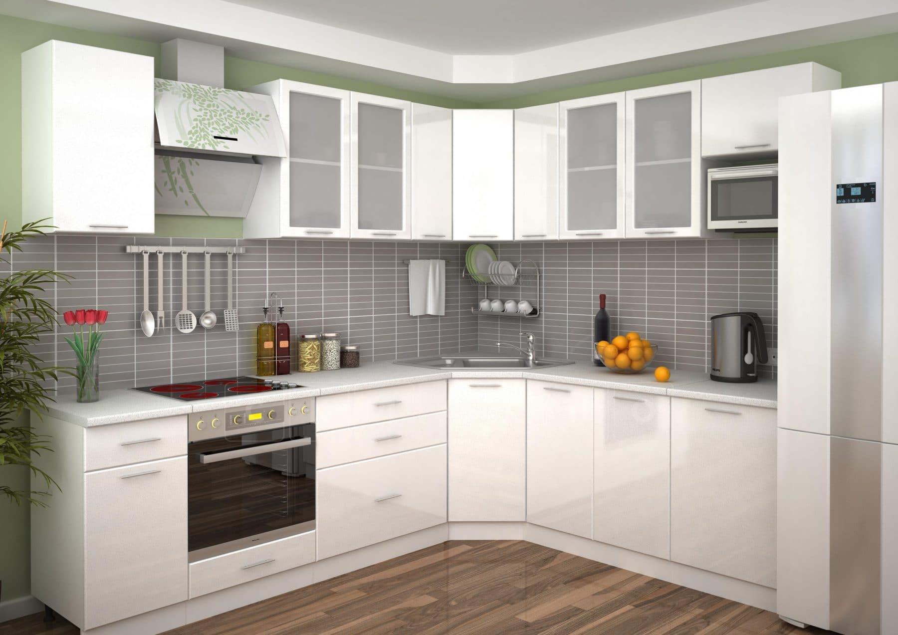 Кухня угловая Шарлотта 2,1х2,6 м белый металлик фото 1 | интернет-магазин Складно