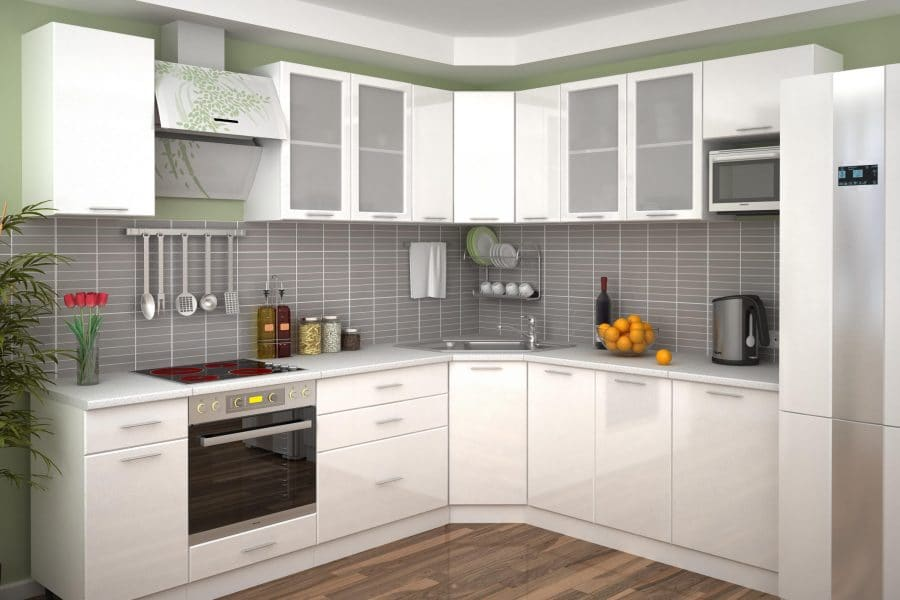 Кухня угловая Шарлотта 2,1х2,6м белый металик фото | интернет-магазин Складно
