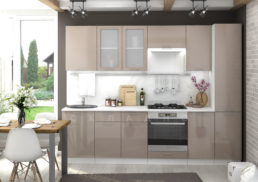 Кухонный гарнитур Шарлотта капучино 2,7 м фото 1 | интернет-магазин Складно