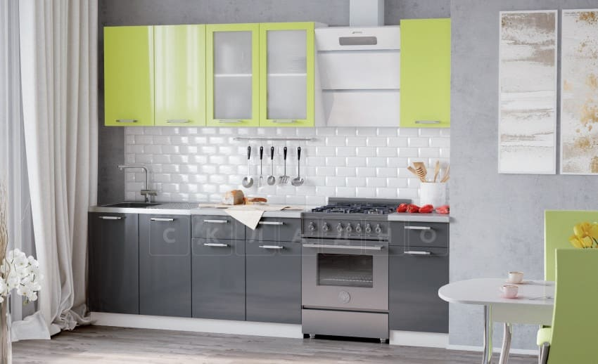 Кухонный гарнитур Шарлотта графит с лаймом 2,0 м фото 1 | интернет-магазин Складно