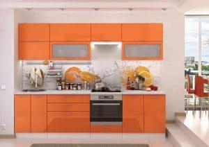 Кухонный гарнитур Шарлотта оранжевый 2,8 м фото | интернет-магазин Складно