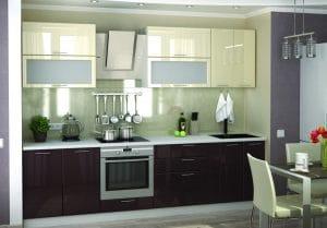 Кухонный гарнитур Шарлотта шоколад с ванилью 2,8 м фото | интернет-магазин Складно