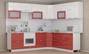 Кухня угловая Шарлотта страйп 2,0х2,6м красный с белым фото | интернет-магазин Складно
