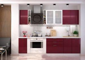 Кухонный гарнитур Шарлотта вишня с белым 2,9 м фото | интернет-магазин Складно