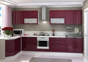 Кухня угловая Шарлотта 1,7х3,6м вишня глянец фото | интернет-магазин Складно