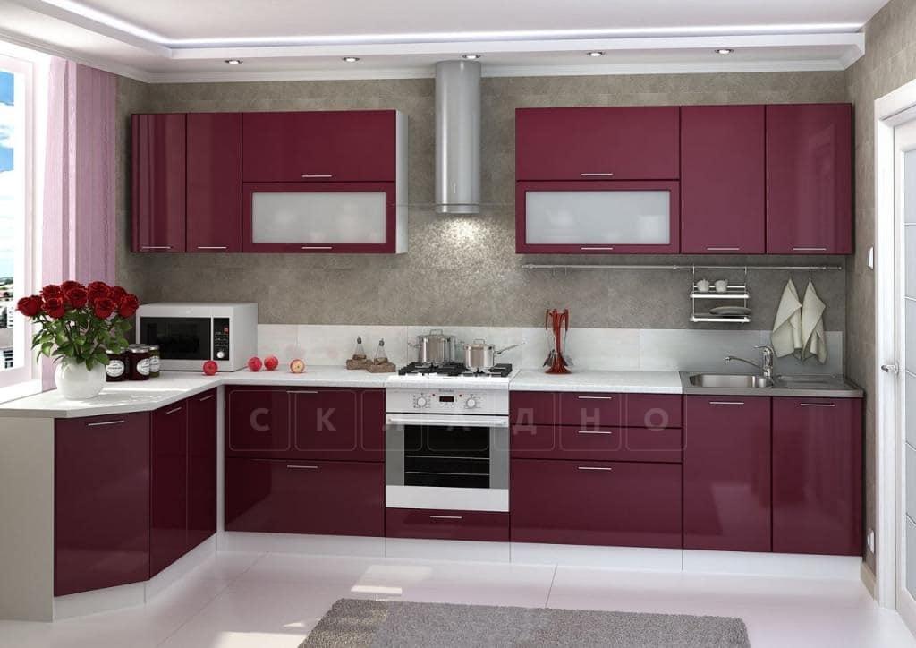 Кухня угловая Шарлотта 1,7х3,6 м вишня глянец фото 1 | интернет-магазин Складно