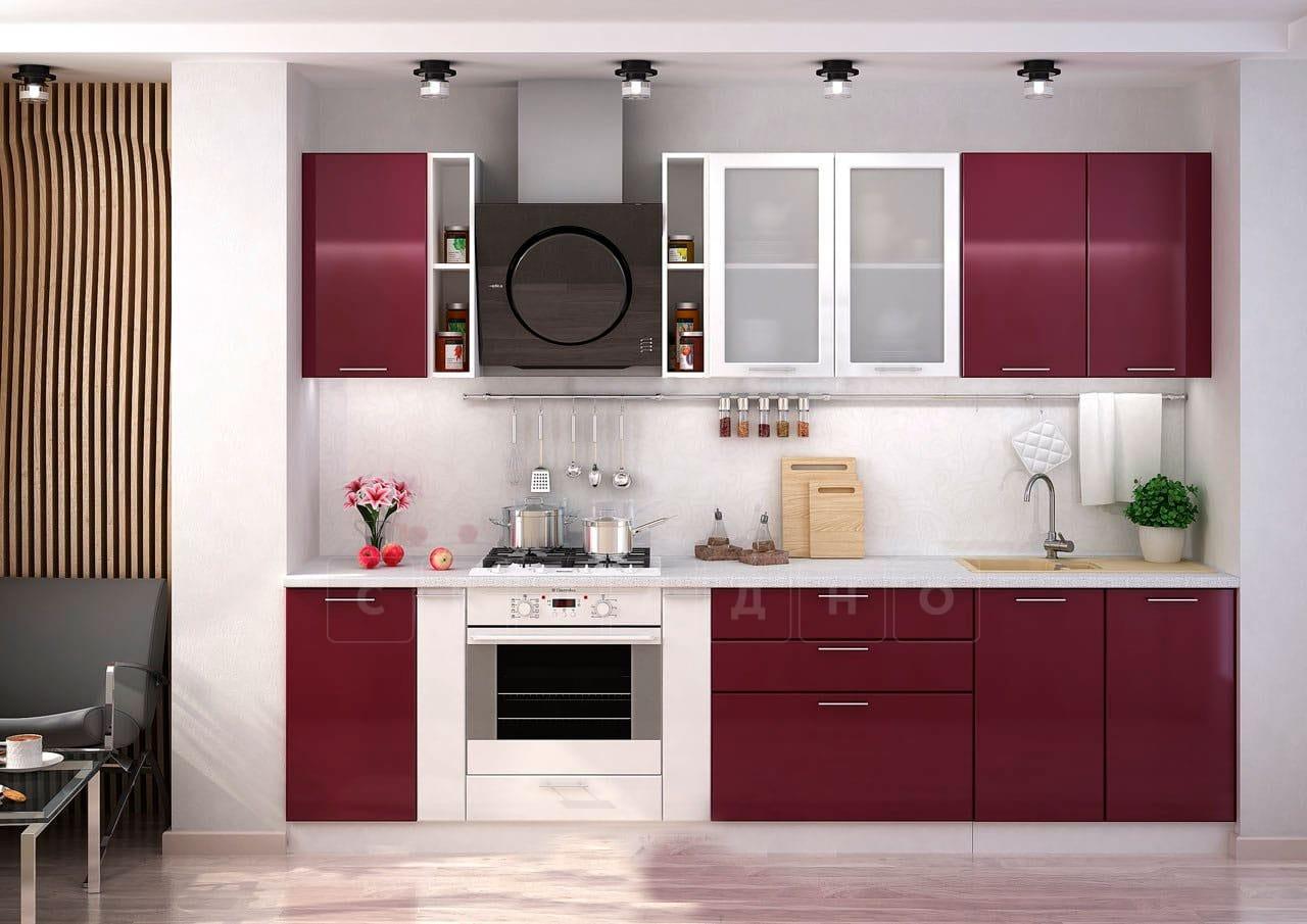 Кухонный гарнитур Шарлотта вишня с белым 2,9 м фото 1 | интернет-магазин Складно