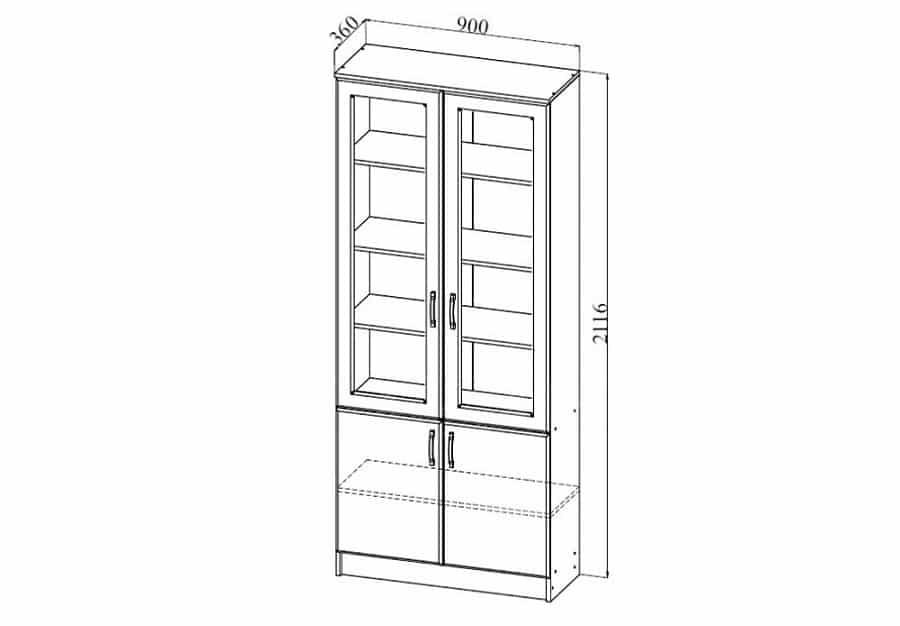 шкаф двухстворчатый со стеклом нимфа