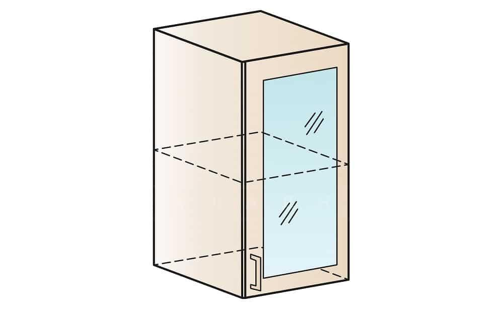 Кухонный навесной шкаф со стеклом Модена ШВС40 фото 1 | интернет-магазин Складно