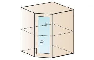 Кухонный навесной шкаф угловой со стеклом Модена ШВУС50 фото | интернет-магазин Складно