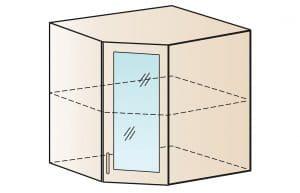 Кухонный навесной шкаф угловой со стеклом Модена ШВУС60 фото | интернет-магазин Складно