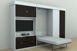 Подъемная кровать трансформер 140 см со шкафами серии Alians фото | интернет-магазин Складно