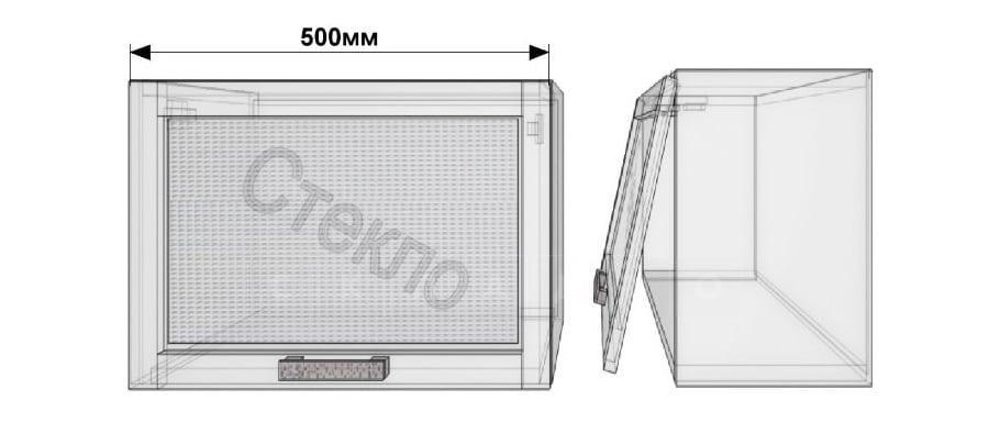 Кухонный навесной шкаф со стеклом газовка Гинза ШВГС50 фото 1 | интернет-магазин Складно