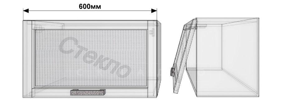 Кухонный навесной шкаф со стеклом газовка Гинза ШВГС60 фото 1 | интернет-магазин Складно