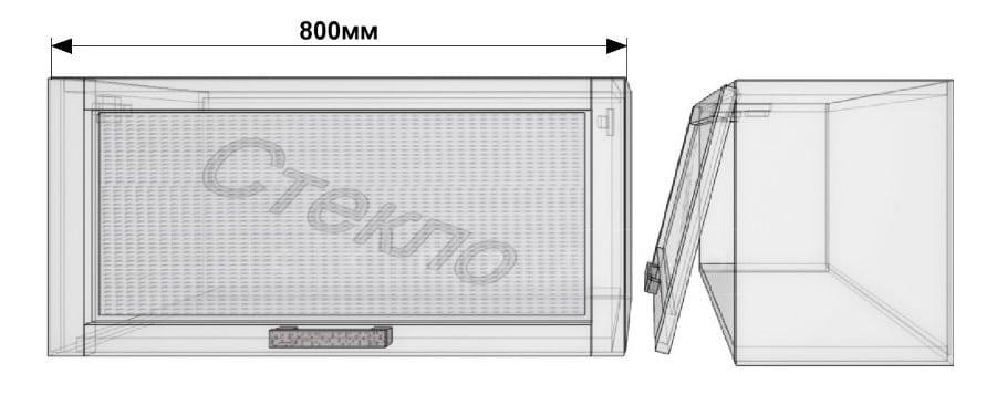Кухонный навесной шкаф со стеклом газовка Гинза ШВГС80 фото 1 | интернет-магазин Складно